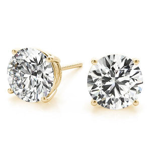 Round 14K Yellow Gold 4-Prong Stud Earrings