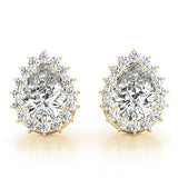 Halo Pear 14K Yellow Gold Moissanite Stud Earrings