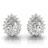 Halo Pear 14K White Gold Moissanite Stud Earrings