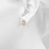 Halo Oval 14K Rose Gold Stud Earrings