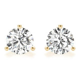0.75 CT. TW. 14K Yellow Gold Natural Three Prong Martini Studs