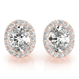 Halo Oval 14K Rose Gold Moissanite Stud Earrings