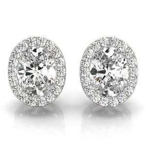 1.25 CT. TW. Halo Oval 14K White Gold Moissanite Stud Earrings