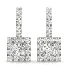 Halo Princess 14K White Gold Earrings
