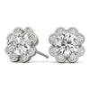 Halo Round 14K White Gold Stud Earrings