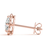 Halo Round 14K Rose Gold Stud Earrings
