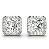 Halo Princess 14K White Gold Stud Earrings