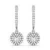 Halo Round 14K White Gold Earrings