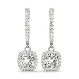 Halo Cushion 14K White Gold Earrings