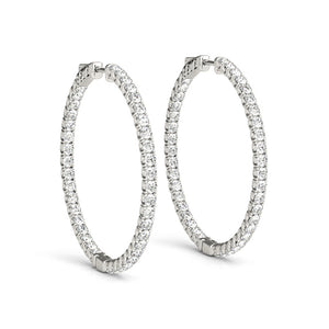 Inside-Out Four-Prong 14K White Gold Hoop Earrings (1.0, 1.5, 2.0-inch Options)