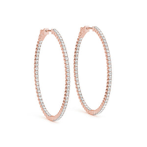 Inside-Out Four-Prong 14K Rose Gold Oval Hoop Earrings (1.0, 1.5, 2.0-inch Options)