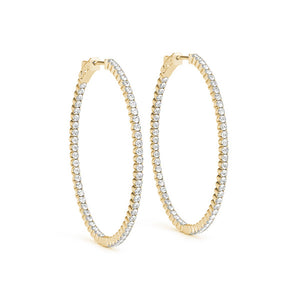 Inside-Out Four-Prong 14K Yellow Gold Oval Hoop Earrings (1.0, 1.5, 2.0-inch Options)