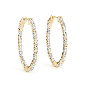 Inside-Out Trellis 14K Yellow Gold Oval Hoop Earrings (1.25, 1.5-Inch Options)