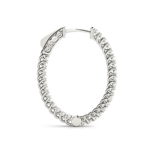 2 CT. TW. Inside-Out Trellis 14K White Gold Moissanite 1.25-Inch Oval Hoop Earrings