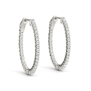 Inside-Out Trellis 14K White Gold Oval Hoop Earrings (1.25, 1.5-Inch Options)
