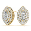 Halo Marquise 14K Yellow Gold Stud Earrings