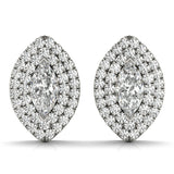 Halo Marquise 14K White Gold Stud Earrings