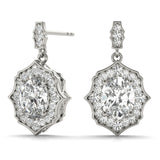Halo Oval 14K White Gold Earrings