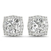 Halo Cushion Platinum Stud Earrings