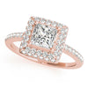 Halo Princess 14K Rose Gold Engagement Ring
