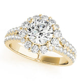 Accented Halo Round 14K Yellow Gold Engagement Ring