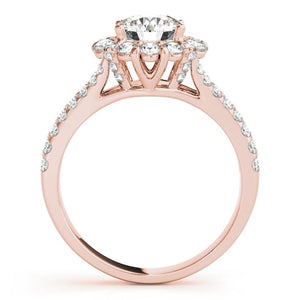 Accented Halo Round 14K Rose Gold Engagement Ring