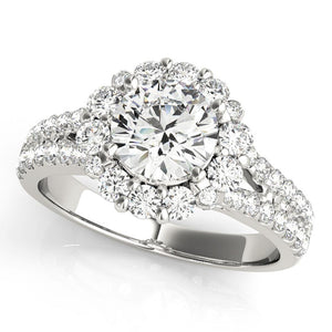 Accented Halo Round Platinum Engagement Ring