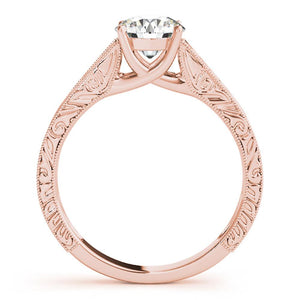 Four-Prong Trellis Solitaire Round 14K Rose Gold Engagement Ring