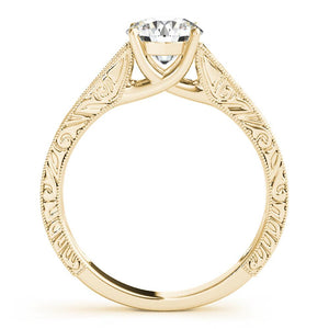 Four-Prong Trellis Solitaire Round 14K Yellow Gold Engagement Ring