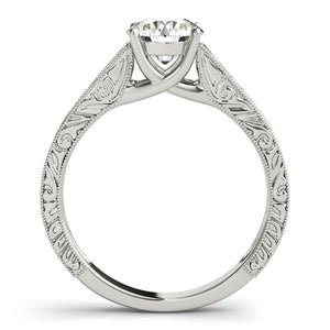 Four-Prong Trellis Solitaire Round 14K White Gold Engagement Ring