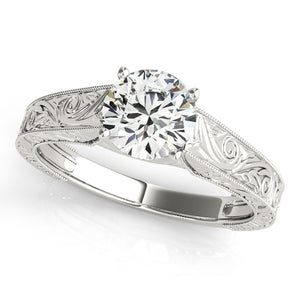 Four-Prong Trellis Solitaire Round Platinum Engagement Ring