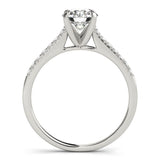 Accented Solitaire Round Platinum Engagement Ring