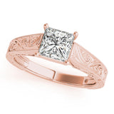Four-Prong Vintage Princess 14K Rose Gold Engagement Ring