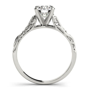 Vintage Solitaire Round 14K White Gold Engagement Ring