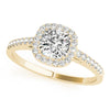 Four-Prong Halo Cushion 14K Yellow Gold Engagement Ring