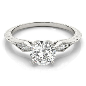 Vintage Four-Prong 14K White Gold Engagement Ring