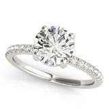 Accented Solitaire Round 14K White Gold Engagement Ring