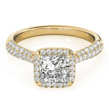 Multi-Row Halo Princess 14K Yellow Gold Engagement Ring