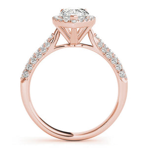 Three-Prong Halo Pear 14K Rose Gold Engagement Ring