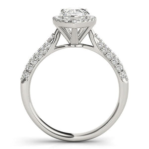 Three-Prong Halo Pear Platinum Engagement Ring