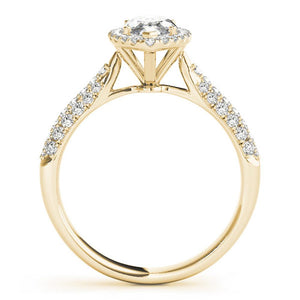 Multi-Row Halo Marquise 14K Yellow Gold Engagement Ring