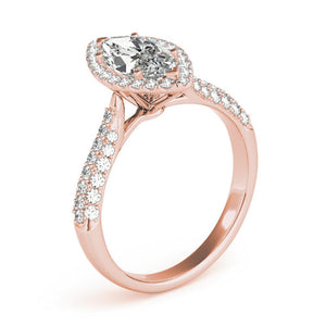 Multi-Row Halo Marquise 14K Rose Gold Engagement Ring
