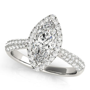 Multi-Row Halo Marquise 14K White Gold Engagement Ring