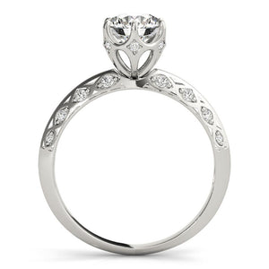 Six-Prong Vintage Round 14K White Gold Engagement Ring