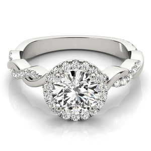 Braided Halo Round 14K White Gold Engagement Ring