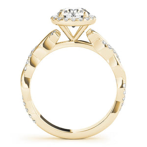 Braided Halo Round 14K Yellow Gold Engagement Ring