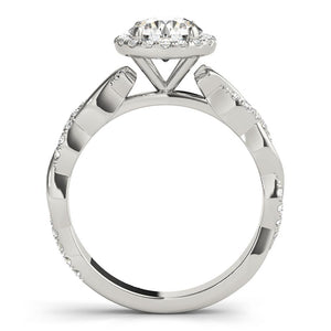 Braided Halo Round Platinum Engagement Ring