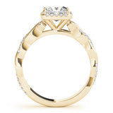 Princess Halo Twisted Shank 14K Yellow Gold Engagement Ring