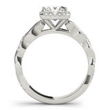 Princess Halo Twisted Shank 14K White Gold Engagement Ring