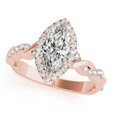 Braided Halo Marquise 14K Rose Gold Engagement Ring